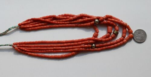 Antique natural Coral bead necklace - 136 gr + silver. NATURAL Undyed Lot