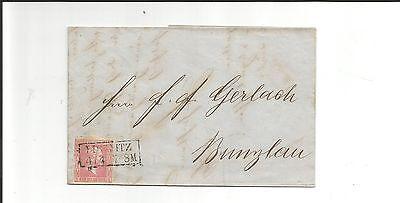 Preussen V. / LIEGNITZ Ra2 auf Kabinett-Brief m. voll-breitrand 10a 1860