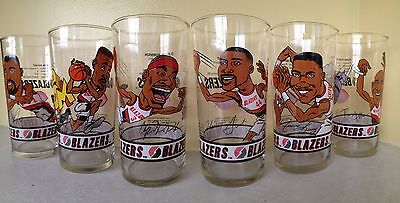Dairy Queen Portland Trail Blazers Set Of 6 Glasses 1993-1994 '93-'94