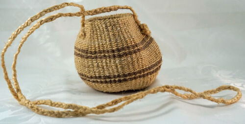 Tightly Hand Woven Sisal Basket / Pouch / Purse with Long Carrying Strap