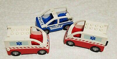Lot of Vintage LEGO DUPLOs 2 Ambulance 1 police Vehicle Hospital first responder