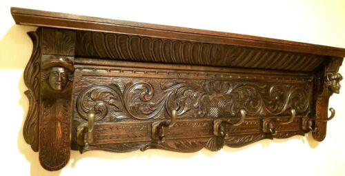 Antique French Country Carved Dark Oak Wall Shelf Coat Hat Plate Rack BIG BRASS