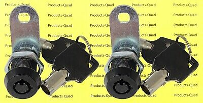 2x Black Tubular 1 Cam Lock - Keyed Alike - Cabinet Camper Removable Key