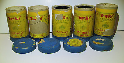 5 Busy Bee Cylinder Record Sleeves, 4 Lids, 2 Damaged Records Vintage Phonograph