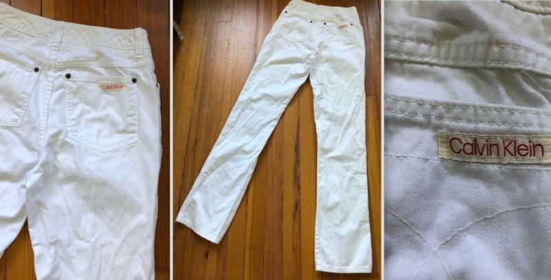 VTG 80s CALVIN KLEIN WHITE 100% COTTON JEANS HIGH WAIST STRAIGHT LEG 26.5 EUC