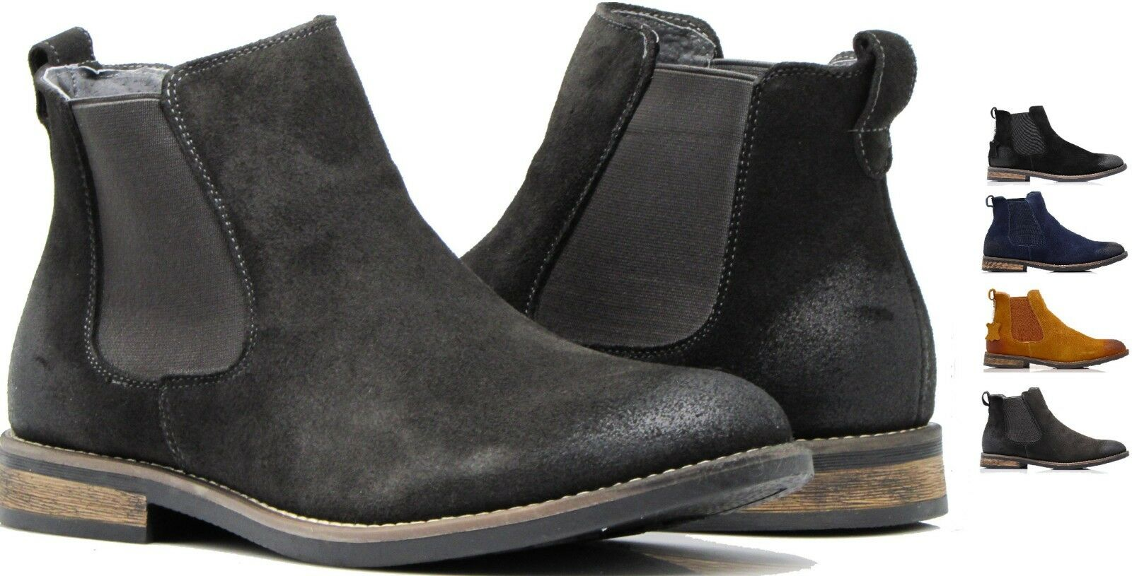 MEN WALLACE CHELSEA ANKLE BOOTS DESERT MARTIN GENUINE LEATHER CHUKKA BOOTS BLG