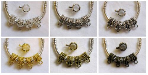 30 pc Tibetan Style Silver Gold Bronze Flower Bail Beads fit European Jewelry