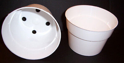 25 - 4 inch White Plastic Flower Pots Made in the USA - White Flower Pots