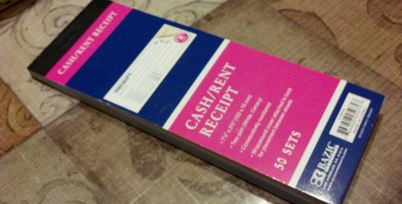 Cash Money Rent Receipt Book 2 Part 50 Sets EACH with Duplicate Copy w/Carbon