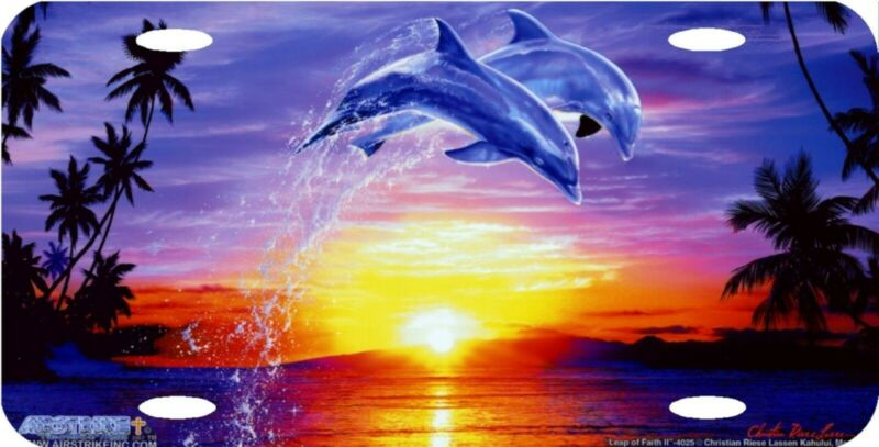 Dolphins Leap of Faith Tropical Sunset Ocean Palm Trees Vanity License Plate NEW