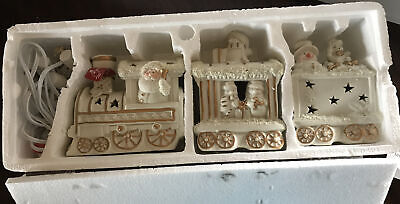 Santa Train Ivory Gold Bisque Accent Light JCP Home Collection Set Christmas New