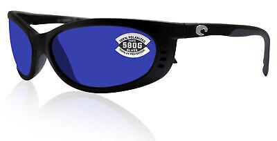 Costa Del Mar Fathom Matte Black Frame Blue Mirror 580G Glass (Costa Glass Lens)