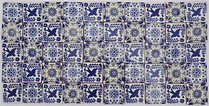 Pack of 50 Assorted Mexican Handmade 5cm Tiles: Azul y Blanco