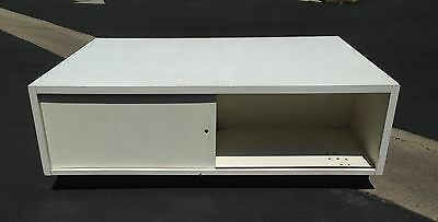 Retail Display Storage Cabinet White Store Fixture Used Table Sliding Doors