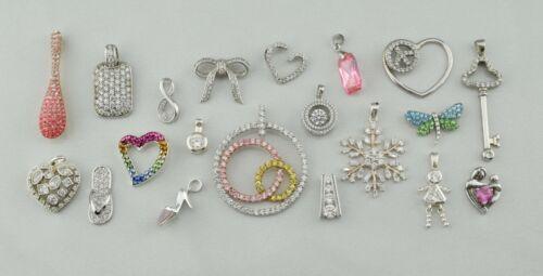 Lot of 20 - Sterling Silver Multi Gemstone & CZ Pave Pendants - Wholesale