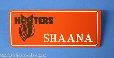 ORANGE HOOTERS GIRL NAME TAG PIN (name in white) SHAANA