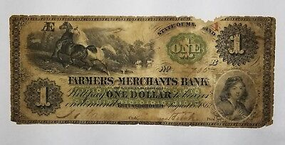 1862 The Farmers And Merchants Bank  1 Obsolete Note