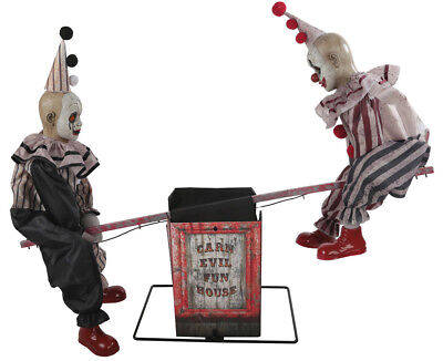 Halloween Animated EERIE SEE SAW TWO VINTAGE CLOWN DOLLS Prop Haunted House NEW