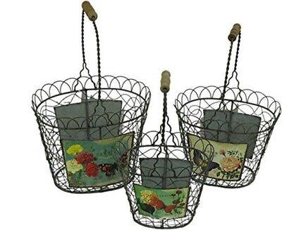 Set of 3 Garden Butterfly Wire Baskets