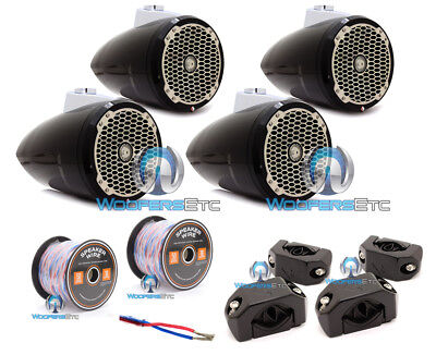 6pkg ROCKFORD FOSGATE PM282W-B MARINE SPEAKERS + PM-CL1B CLAMPS + XLN16-50 WIRES