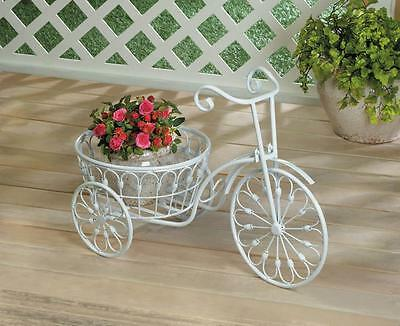 WHITE BICYCLE PLANTER POT STAND DISPLAY INDOOR OR OUTSIDE DECOR~10018026