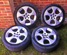 4x Genuine VW 17 inch Monza Alloy Wheels with Very Good Tyres