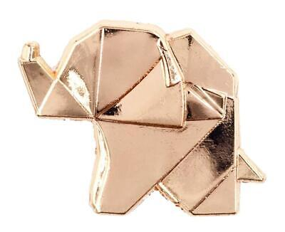 ROSE GOLD ORIGAMI ELEPHANT ENAMEL PIN BY LITTLE SHOP OF PINS - Gold Enamel Elephant