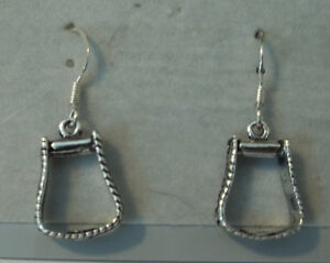 Sterling-Silver-Horse-Western-Decorated-Stirrup-Earrings-on-Wires