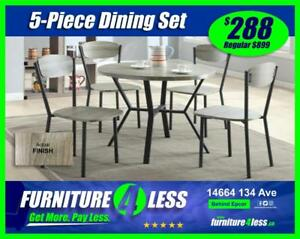 BRAND NEW 5-PIECE DINING TABLE SETS-$288-$468 AND $588-HURRY IN TODAY!