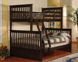 SOLID WOOD TWIN OVER DOUBLE BUNK BED FOR 499$ ONLY
