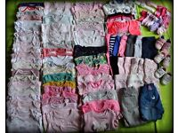 *HAVE A LOOK!* 6-9 months BABY GIRLS CLOTHES BUNDLE 88 ITEMS shoes sleepsuits bodysuits socks hoodie