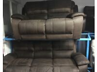 New/Ex Display ScS Brown Fabric 3 Seater Sofa + 2 Seater Sofa