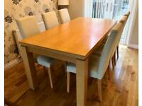 Dining Table & 6 Cream Leather Chairs