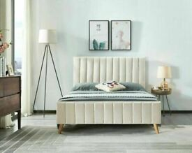 🔵💖🔴DISCOUNT SALE PRICE🔵💖🔴PLUSH VELVET FABRIC LUCY DOUBLE BED FRAME WITH MATTRESS OPTION