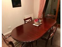 Table and 6 chairs bought in 1996 (mahogany)