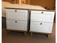 Pair of White and Oak Effect Mid Century Style Bedside Cabinets Tables
