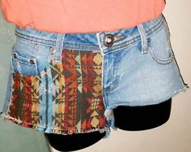 Parisian Denim Shorts Rip Hot Pants Size 6 UK Aztec