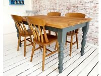 Farmhouse Traditional Extending Reclaimed Style Pine Table Any Size Any Colour