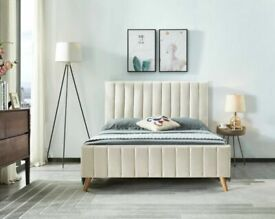 🎁🎉Massive Saving🎊🎁Lucy Bed Frame in grey and Champagne Color With Orthopaedic Mattress Options