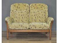 Attractive Vintage Ercol Saville Two Seater Upholstered Settee Sofa