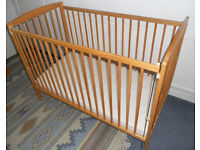 Solid Pine Cot with Mattress