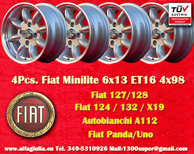 4 rad Minite 6x13 Simca 1000 1200 Rallye Räder Felgen llantas Jantes TUV (Rallye-räder)