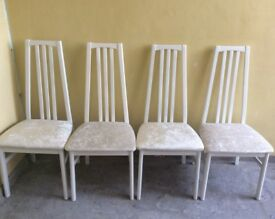 X4 crushed beige dining chairs