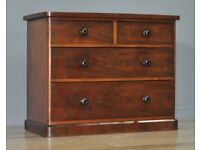 Attractive Small Antique Victorian Mahogany Chest of Four Drawers, Glass Handles