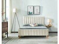 BRAND NEW FURNITURE-(4ft 6inch) Double Size Fully Plush Velvet lucy Beds Frame W Optional Mattress