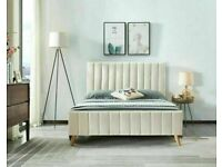 🔵💖🔴GIFTED PRICE OFFER🔵💖🔴PLUSH VELVET FABRIC LUCY DOUBLE BED FRAME WITH MATTRESS OPTION