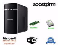 Zoostorm Core i3-4150 Quad Core Desktop PC, 2TB HDD, 12GB RAM, DVD-RW, Windows10