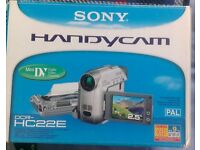 Sony Handycam DCR-HC22E Boxed as New and includes docking station