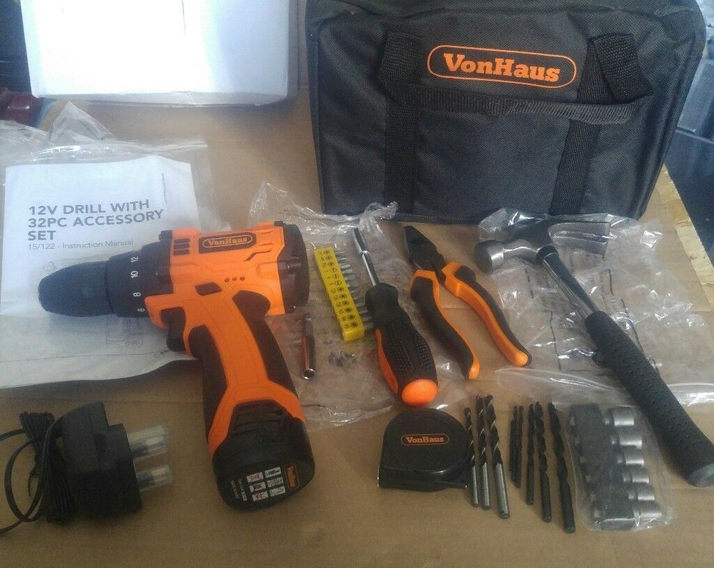 VON HAUS 12V DRILL / DRIVER AND 32 PIECE ACCESSORY SET/ TOOL KIT ...