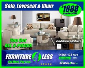 BRAND NEW 3-PIECE SOFA, LOVESEAT AND CHAIR-GET IT TODAY FOR ONLY-GET IT FOR $1888